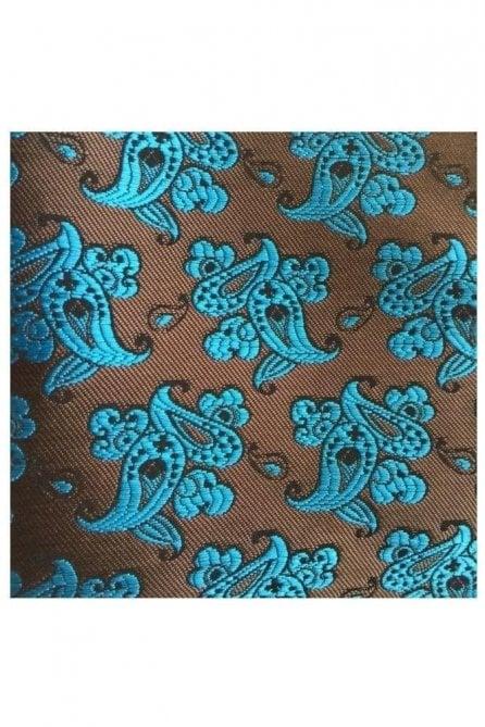 Brown Paisley Silk Pocket Square