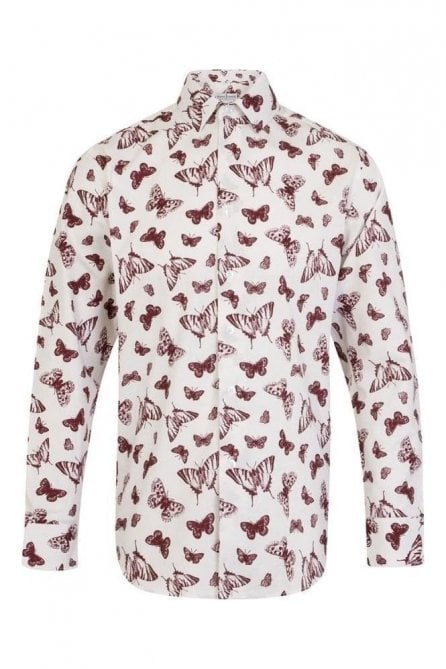 Butterfly Print White Regular Fit 100% Cotton Shirt