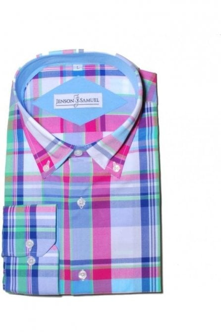 Checked Blue & Pink Regular Fit 100% Cotton Shirt
