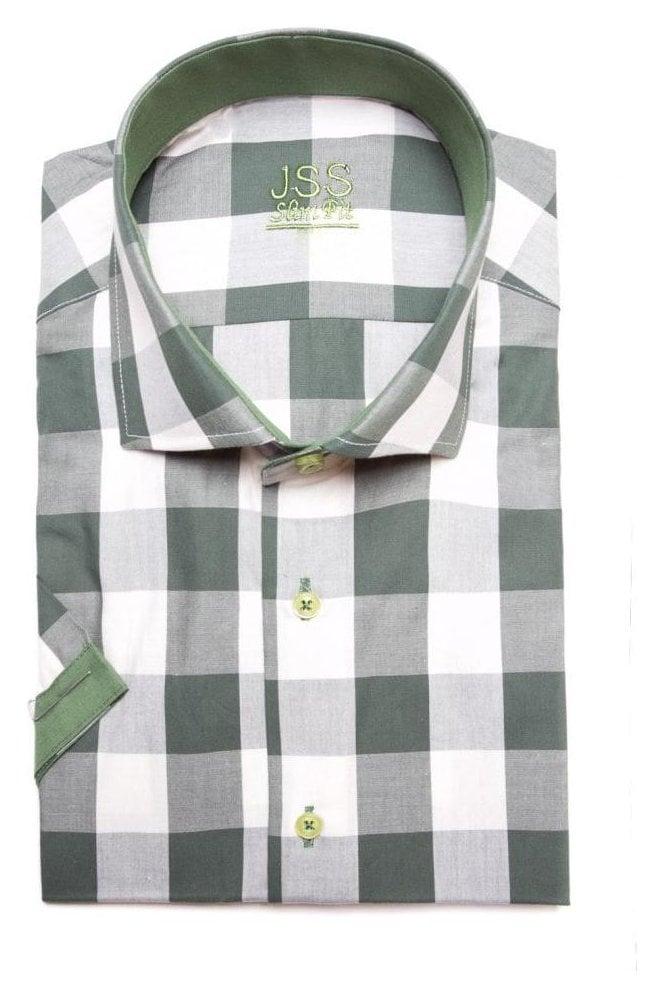 JSS Checked Green Slim Fit Short Sleeve Shirt