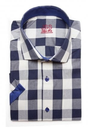 Checked Navy Slim Fit Short Sleeve Shirt