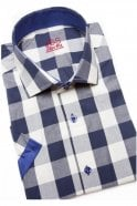 JSS Checked Navy Slim Fit Short Sleeve Shirt