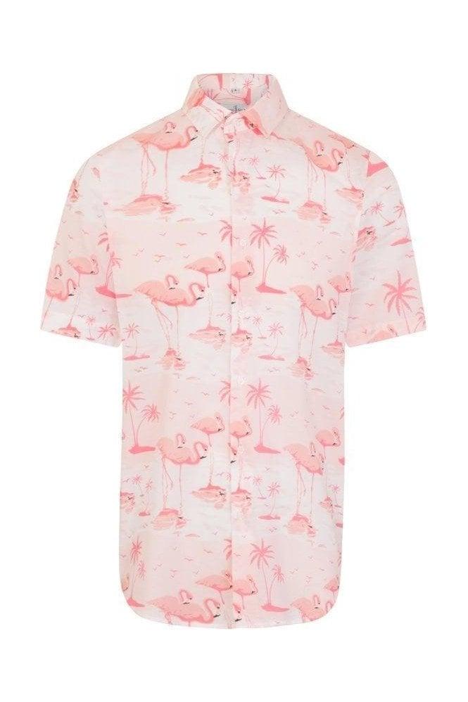 JSS Flamingo Print Pink Regular Fit Short Sleeve Shirt