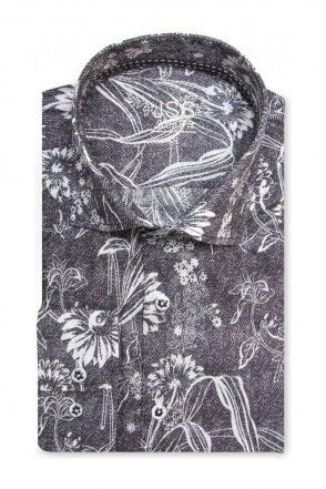 Floral Black Denim Slim Fit Shirt Mod Inspired