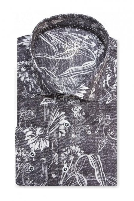Floral Black Denim Slim Fit Shirt Mod Inspired