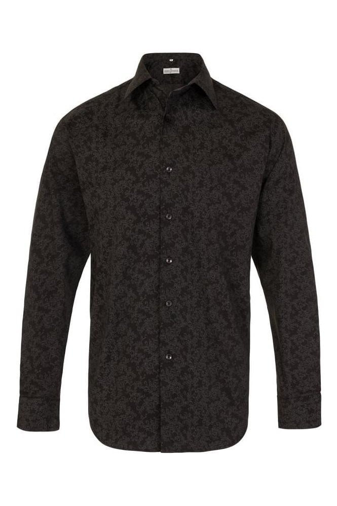 JSS Floral Black Regular Fit 100% Cotton Shirt