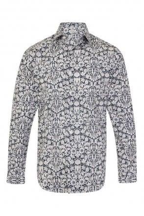 Floral Blue & White Regular Fit 100% Cotton Shirt