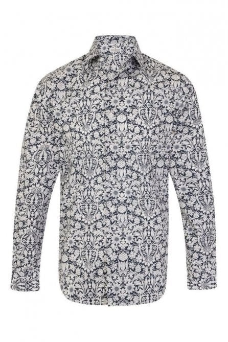 Floral Blue & White Regular Fit 100% Cotton Shirt