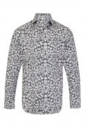 JSS Floral Blue & White Regular Fit 100% Cotton Shirt