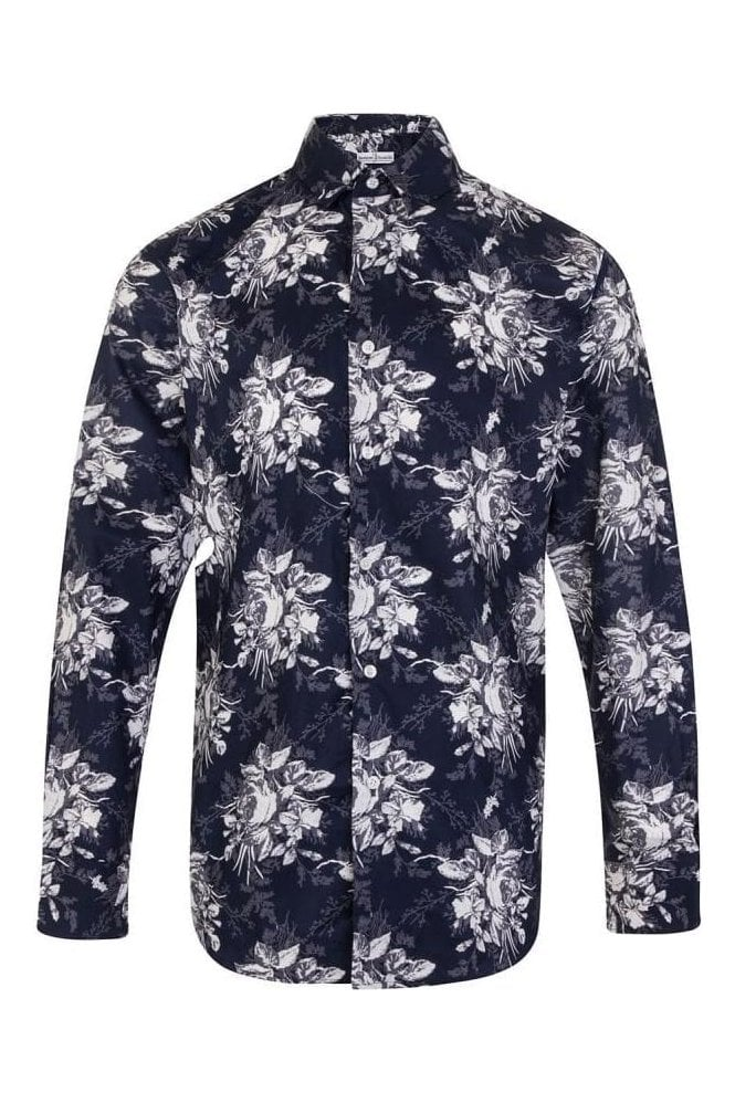JSS Floral Navy & White Regular Fit 100% Cotton Shirt