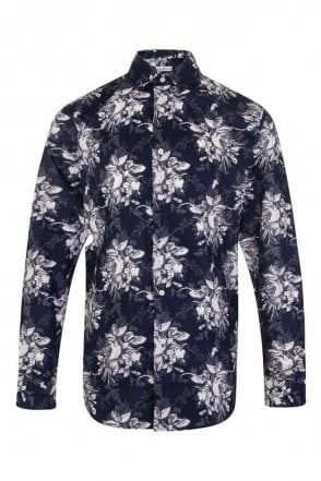 Floral Navy & White Regular Fit 100% Cotton Shirt