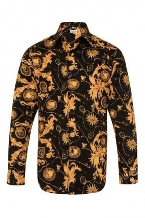 Floral Paisley Black & Orange Regular Fit 100% Cotton Shirt