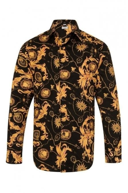 Floral Paisley Black & Orange Regular Fit 100% Cotton Shirt