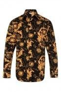 JSS Floral Paisley Black & Orange Regular Fit 100% Cotton Shirt
