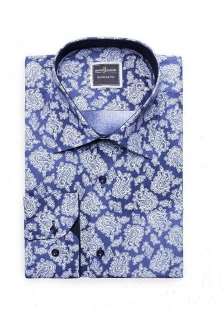 Floral Paisley Blue Slim Fit Shirt Mod Vintage Inspired