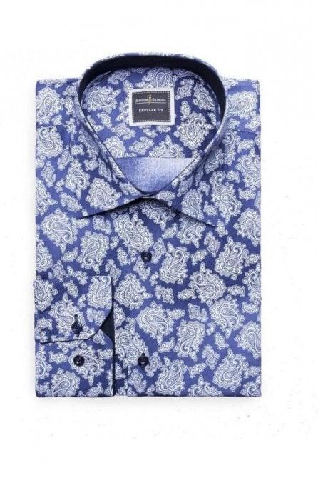 Floral Paisley Blue Slim Fit Shirt Mod Vintage Inspired