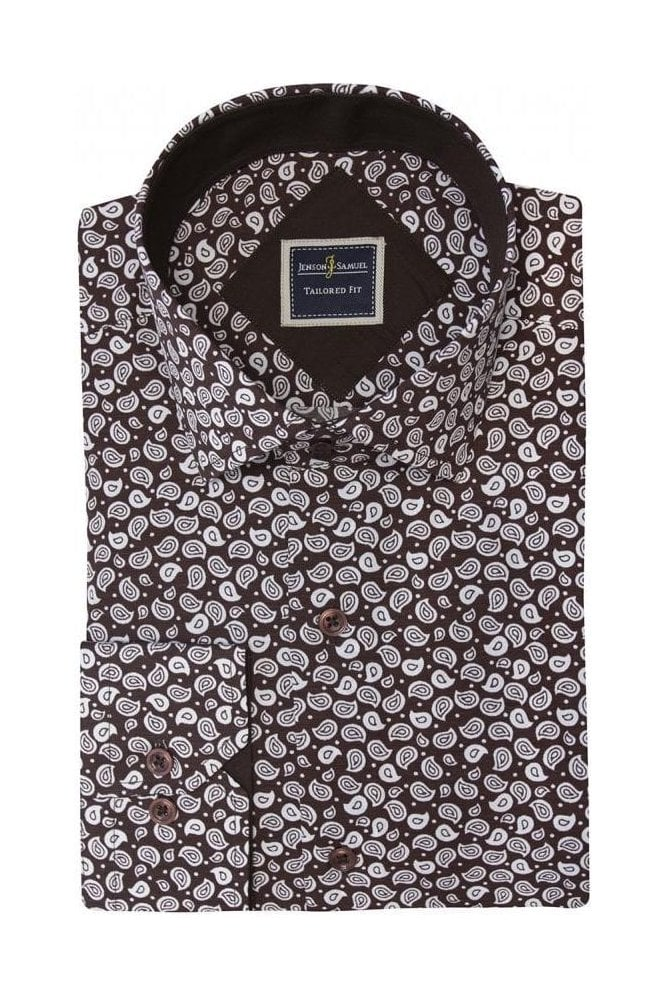 JSS Floral Paisley Brown & White Slim Fit Shirt