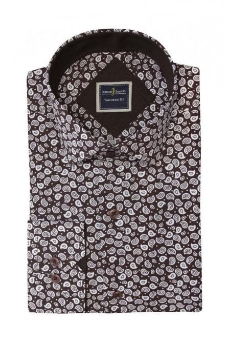 Floral Paisley Brown & White Slim Fit Shirt