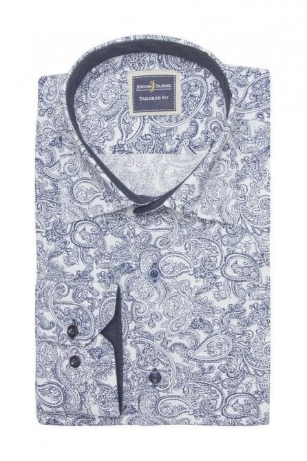 Floral Paisley White & Blue Slim Fit Shirt