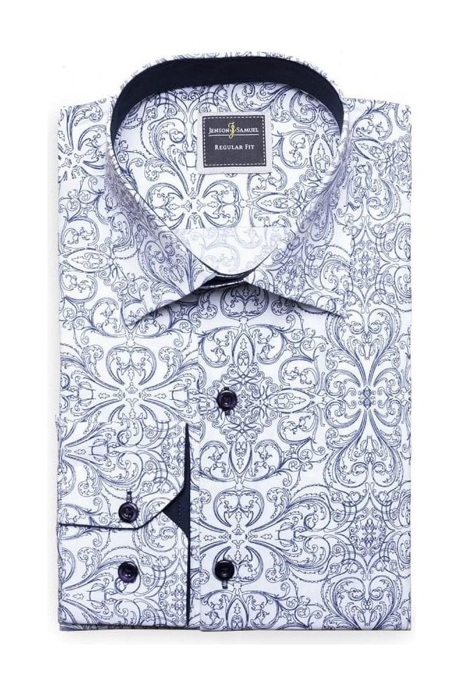 JSS Floral Print White Slim Fit Shirt Mod Inspired