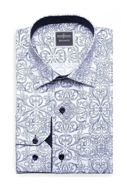Floral Print White Slim Fit Shirt Mod Inspired