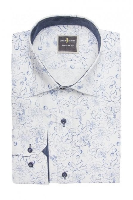 Floral Print White Slim Fit Shirt Mod Vintage Inspired