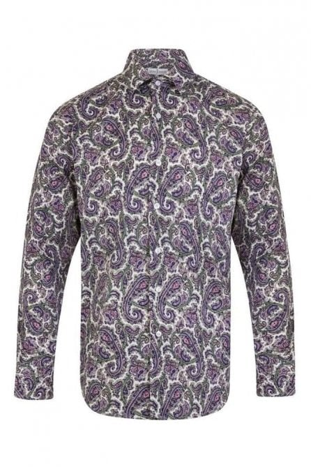 Floral Purple Regular Fit 100% Cotton Shirt