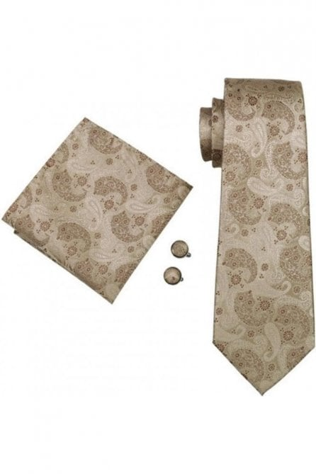 Floral silk neck wedding tie, pocket square & cufflink set