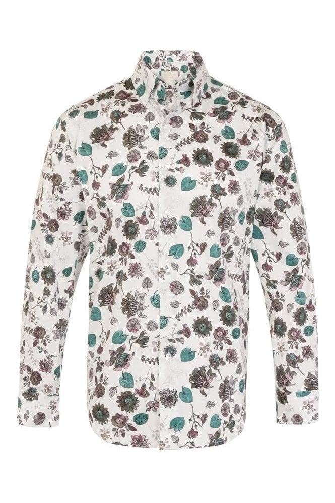 JSS Floral White Regular Fit 100% Cotton Shirt