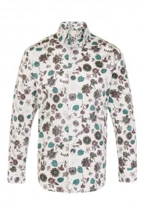 Floral White Regular Fit 100% Cotton Shirt