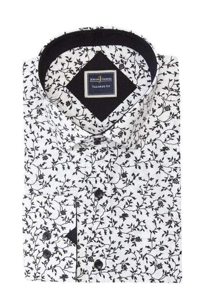 JSS Floral White Tailored Fit Shirt