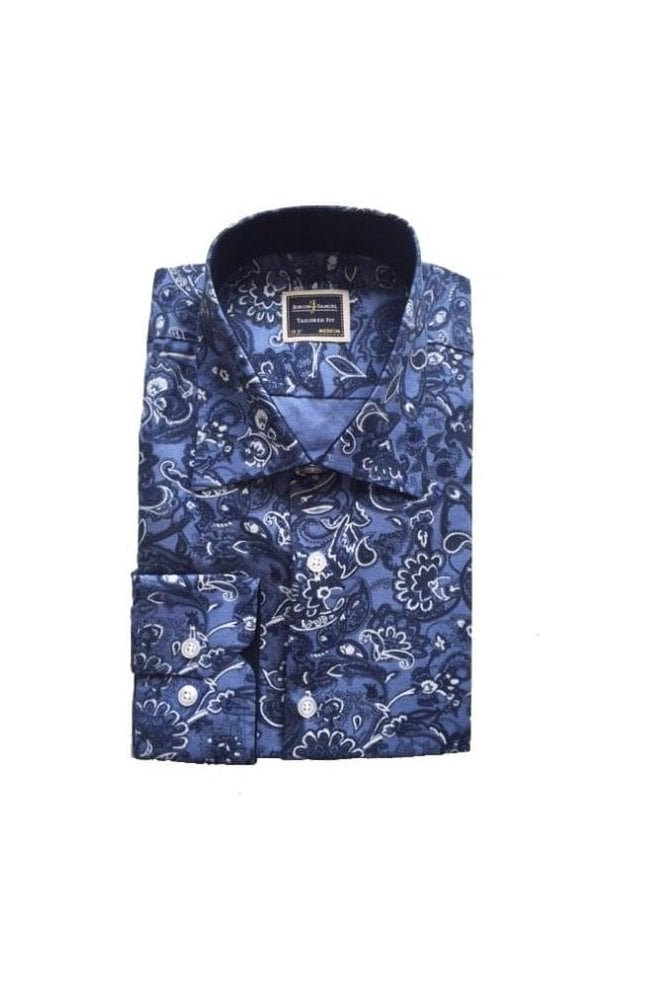 JSS Full Floral Navy Slim Fit Shirt