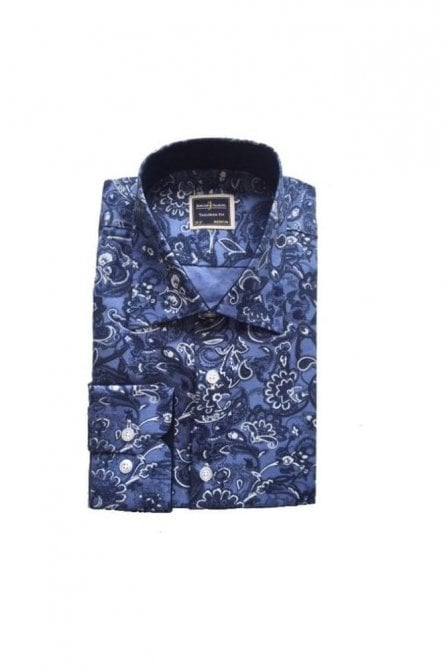 Full Floral Navy Slim Fit Shirt