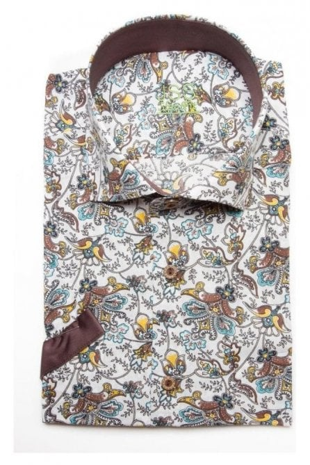 Full Floral White Slim Fit Short Sleeve Shirt with Brown Plain Trim