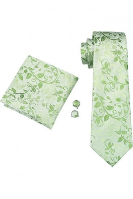 Green floral paisley silk neck tie, pocket square & cufflink set