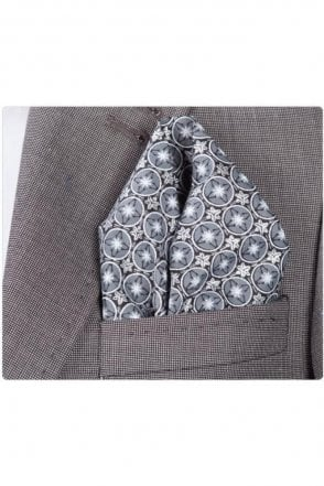 Grey and Black Circle cotton pocket square