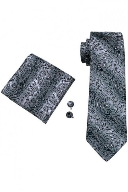 Grey & black paisley patterned pocket square, Cufflink and tie set