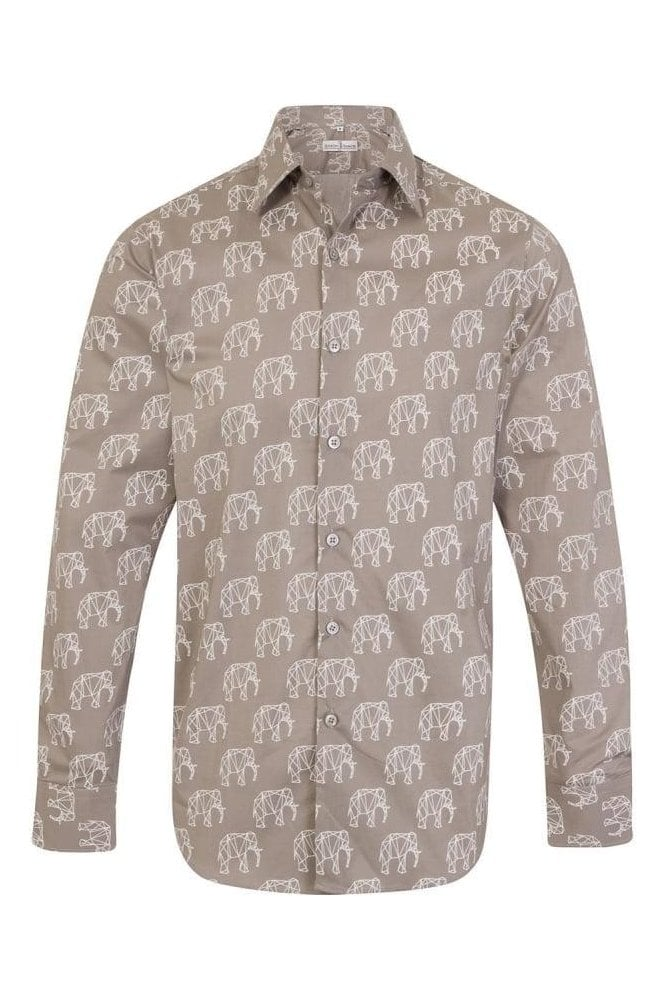 JSS Grey elephant print regular fit shirt