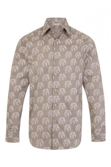 Grey elephant print regular fit shirt