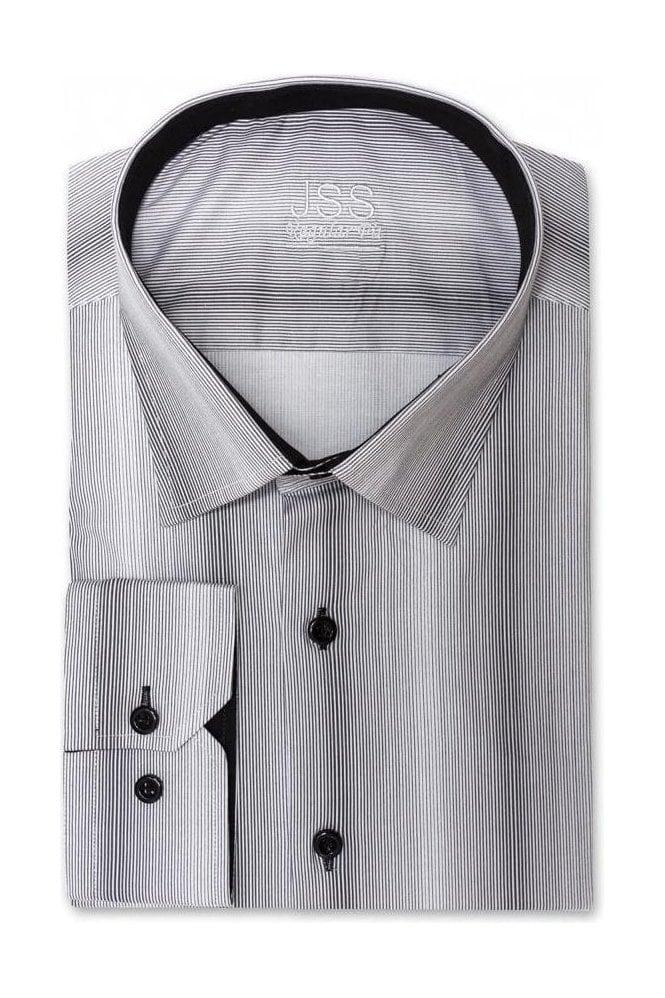 JSS Grey Regular Fit Shirt with Black Pin Stripe
