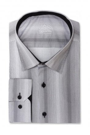 Grey Regular Fit Shirt with Black Pin Stripe