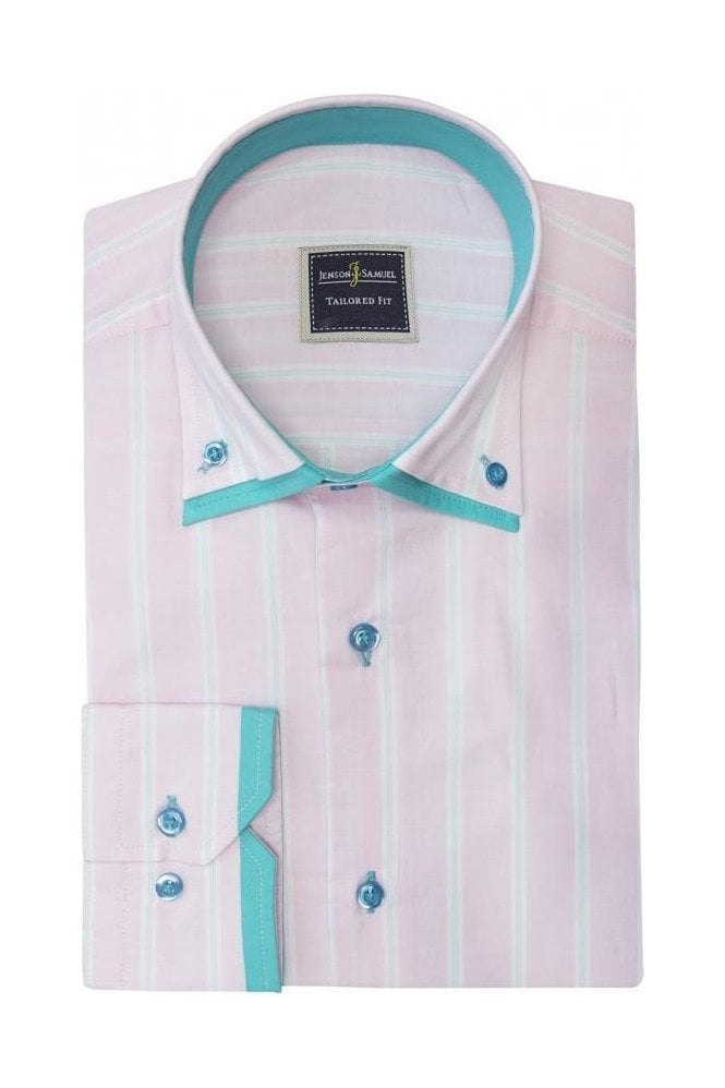 JSS Light Stripe Pink Slim Fit Shirt with Mint Double Collar