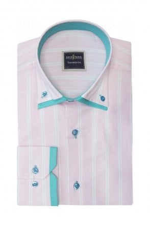 Light Stripe Pink Slim Fit Shirt with Mint Double Collar