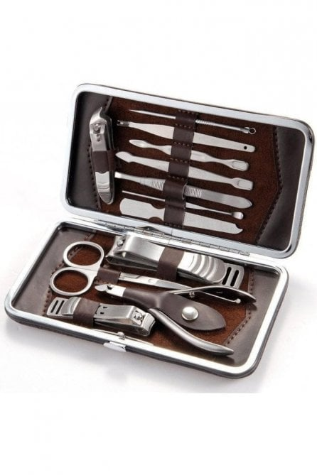 Mens 12 piece stainless steel nail manicure grooming kit gift set