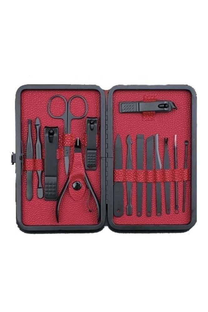 JSS Mens 15 piece matt black nail manicure grooming kit gift set ...