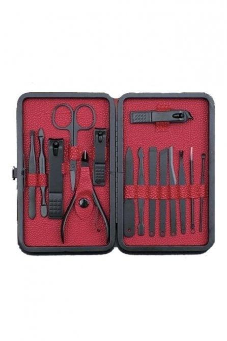 Mens 15 piece matt black nail manicure grooming kit gift set