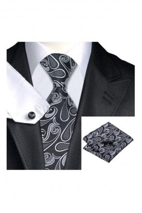 Mens black, White & silver paisley 100% silk pocket square, Cufflink and tie set