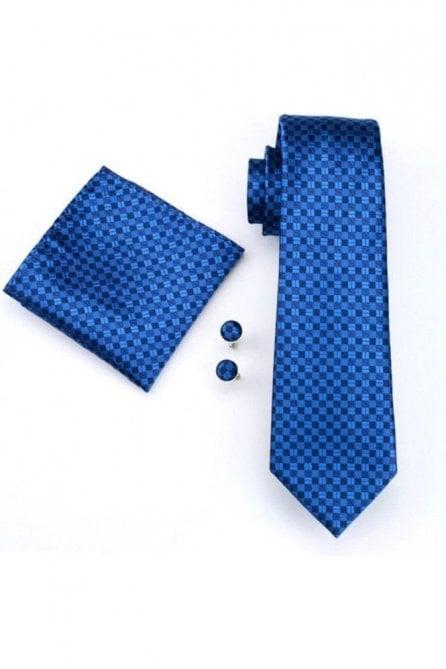 Mens dark blue check 100% silk pocket square, Cufflink and tie set