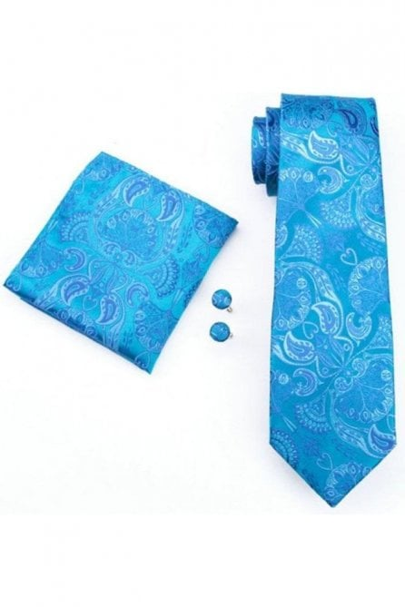 Mens dark blue paisley silk neck tie, pocket square & cufflink set