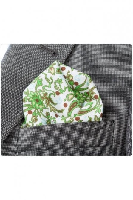 Mens Green and White Floral Paisley Cotton Pocket Square